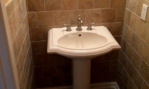Pedestal Sink and Tile Work